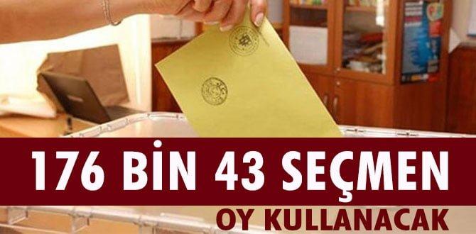 176 bin 43 seçmen oy kullanacak