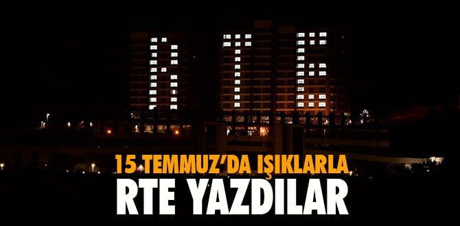KYK kız yurdu öğrencileri ışıklarla 'RTE' yazdı