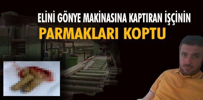 ELİNİ GÖNYE'YE KAPTIRAN İŞÇİNİN PARMAKLARI KOPTU