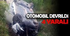 OTOMOBİL DEVRİLDİ. 4 YARALI