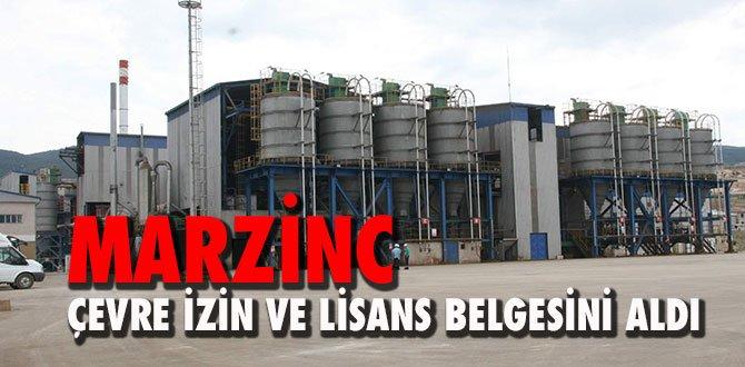 MARZINC, 'Çevre İzin ve Lisans Belgesi' aldı