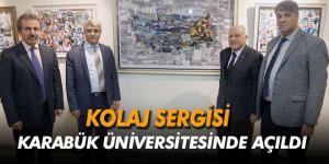 KBÜ'de İl protokolü ve öğretim üyelerinin ortak 'Kolaj Sergisi' açıldı