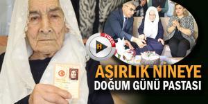 Asırlık Nazire nine 100. yaş pastasını vali ile birlikte kesti