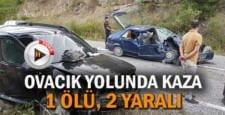 OVACIK YOLUNDA TRAFİK KAZASI; 1 ÖLÜ 2 YARALI