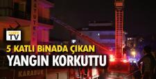 Karabük'te 5 katlı apartmanda yangın çıktı