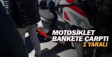 Bankete çarpan motosikletin sürücüsü yaralandı